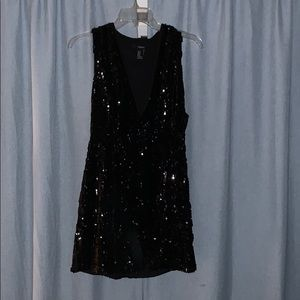 Black sequins party dress